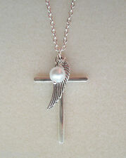 """Cross Angel Wing Pearl Cluster Pendant Silver Plated 28"""" Chain Necklace"""