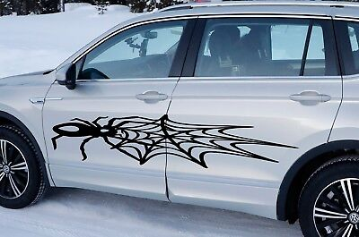 SILVER CHROME VINYL SPIDER WEB HALF CIRCLE DECAL CAR WINDOW CREEPY TRUCK SEMI