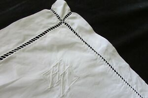 HUGE-Antique-French-Fil-de-Lin-Linen-Ladderwork-Pillowcase-European-Sham-c1920