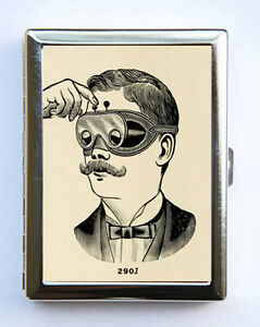 Steampunk Mustache Cigarette Case Business Card Holder Victorian