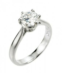 Women-039-s-14K-White-Gold-1ct-6mm-Round-Solitaire-CZ-Engagement-Ring