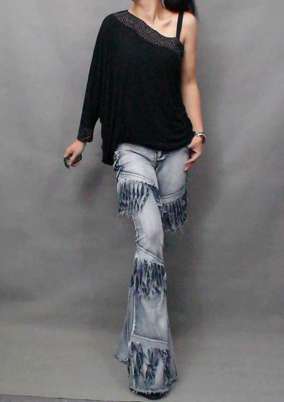 Sexy Tassel  Fringed Woman Jeans Denim Trousers Pants Ultra Maxi long Plus size
