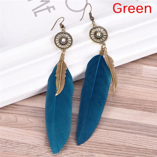 Women Boho Feather Tassel Pendant Ear Stud Drop Dangle Hook Earrings Jewelry 0U