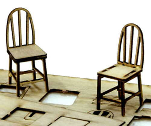 BANTA MODELWORKS THROPTONS FURNITURE ~ 8 BENT BACK CHAIRS O On30 Unptd Kit BM718