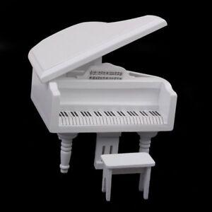 1:12 Piano Exquise En Bois Blanc Miniature De Maison De Poupee B9t3