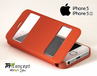 Housse / Coque / Etui à rabat - Apple Iphone 5 / Iphone 5S - ORANGE - Neuf