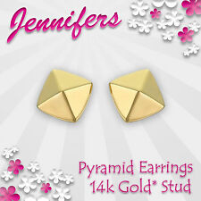 Gold Pyramid Earrings Stud 14ct* Triangle Square Small Studs Earring Jewellery