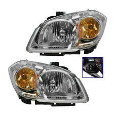 Headlights Headlamps w/Chrome Bezel Left & Right Pair Set for 05-10 Chevy Cobalt