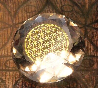 Tachyonen Diamant Blume des Lebens  Klar farblos ca 50 Energie Heilige Geometrie