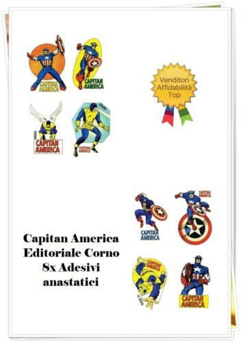 1 primo numero editoriale Corno 8x Adesivi anastatici Capitan America n