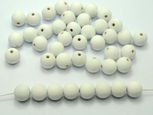 """Rubber Tone 3//8/"""" 500 Matte White Color Acrylic Round Beads 10mm"""