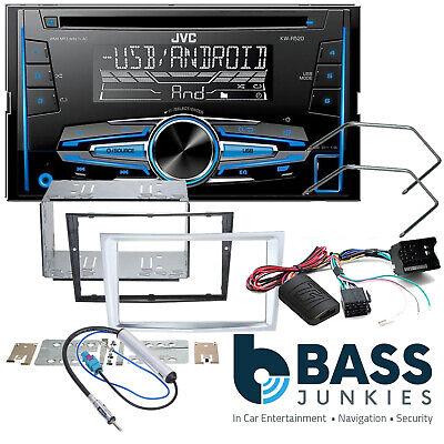 VAUXHALL Astra H Double Din Car Stereo Fascia /& Steering Wheel Kit Chrome Silver