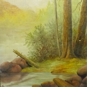 Old Original Western Landscape Oil Painting Trees Stream Mountains Signed 15x11