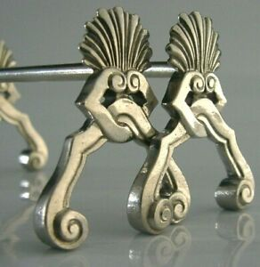 QUALITY-BELGIUM-SOLID-SILVER-CUTLERY-RESTS-c1940s-ART-DECO-71g