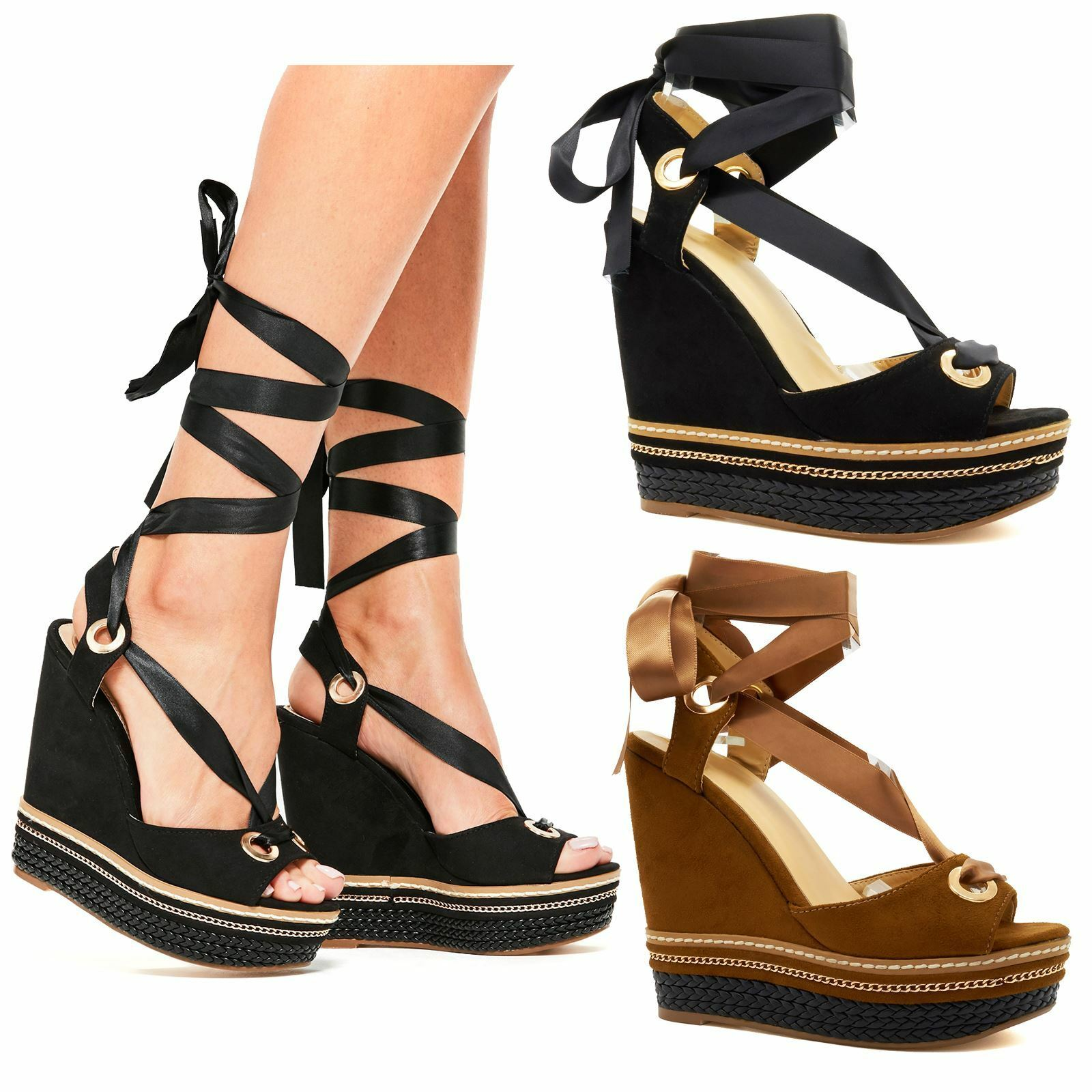 New Womens High Wedge Heel Platform Sandals Ankle Strap Summer Espadrilles Size