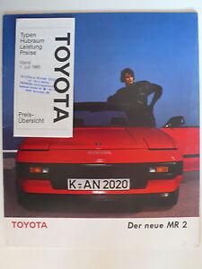 Prospekt Toyota MR 2 zur Premiere, 5.1985, 16 Seiten, 30x24 cm groß + Preisliste