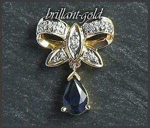 Diamant-und-Saphir-Anhaenger-aus-585-Gold-blau-0-48ct-Damenschmuck-14K-Gold