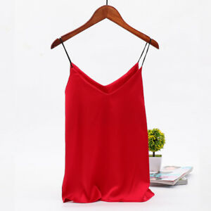 Women-Faux-Silk-Satin-Tank-Top-Camisole-Plain-Loose-V-Neck-Spaghetti-Undershirt