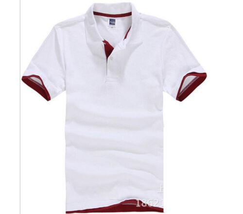 US Hot Men/'s Fashion Short Sleeve Collar Work T-shirt Cotton Shirt Tops