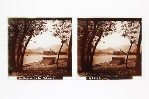 Italia-Lac-Maggiore-Ile-Dei-Pescatori-Foto-n46-Placca-Lente-Stereo-Vintage