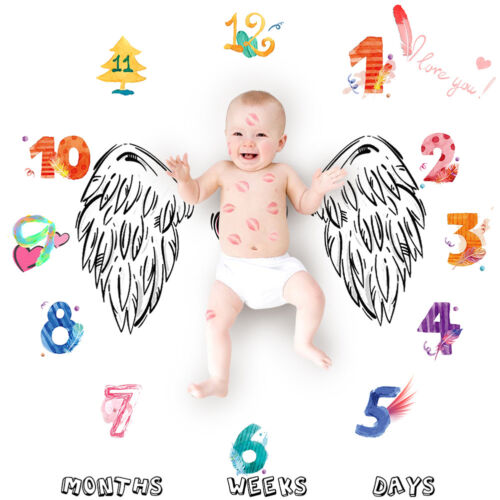 EE/_ Newborn Baby Letter Age Milestone Blanket Photography Rug Photos Props Mat E