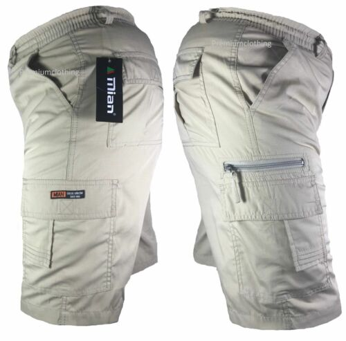 Da Uomo Tinta Unita Elasticizzato Leggero Pantaloncini Cargo Combat Multi Tasca Cotone M-4XL