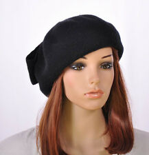 M145 Black Warm Wool Acrylic Women's Winter Hat Beanie Beret Cap Cute Big Bow