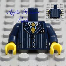NEW Lego Male Boy Minifig TORSO w/Dark Blue Striped Suit Jacket White Shirt Tie