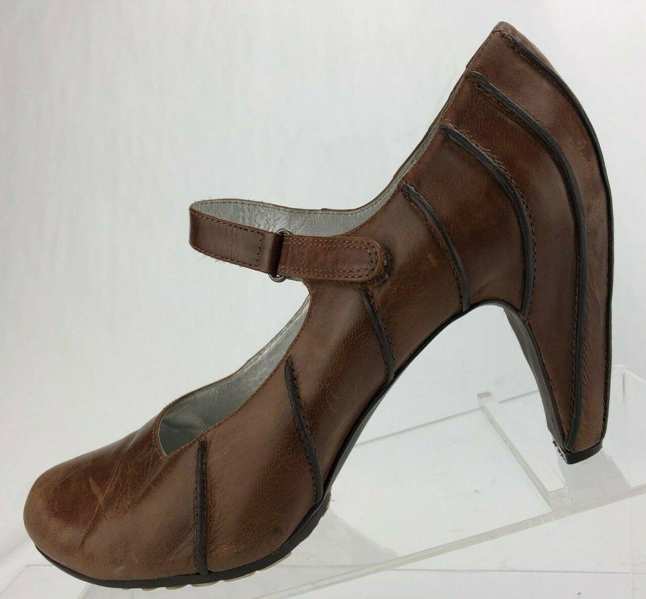 Tsubo Mary Jane Anush Brown Leather Classic Comfort Dress Pump Heels Womens Sz 8