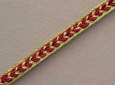 Red Narrow Metallic Gold Trim.Ribbon, Trimming from India. 10 Yards