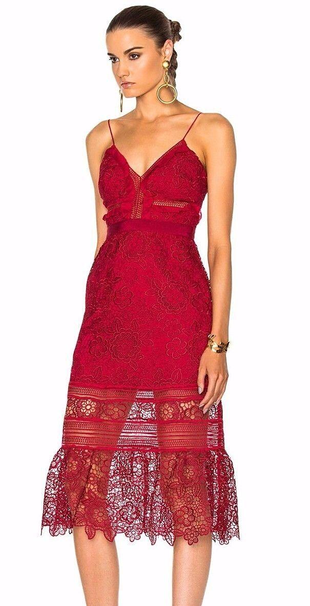 Autoritratto Guipure Rasberry Rosso Midi vestito nuovo con con con etichetta Nuovo di Zecca IT 40 3b354f
