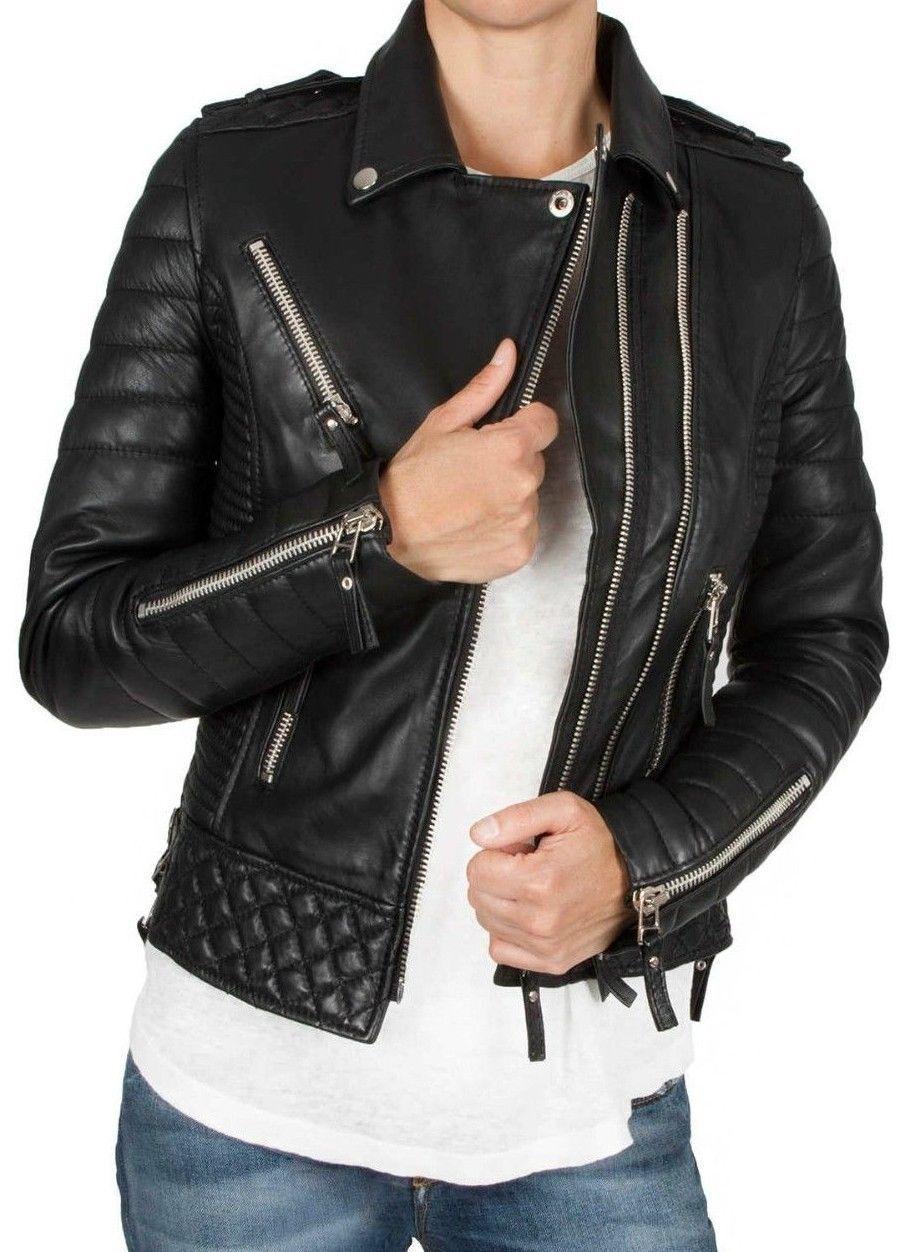 women Auténtico Piel de de de Cordero Moto Cuero Ajustado Abrigo   Chaqueta para 7c4156