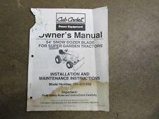 Cub Cadet Super Garden Tractor 54 Blade Owners Amp Maintenance Manual