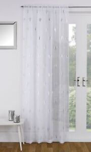 SHIMMERY-SILVER-GLITTER-METALLIC-BIRCH-TREES-WHITE-THICK-VOILE-CURTAIN-PANEL