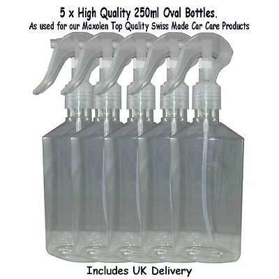 Bottles 250ml PET with Translucent Finger Sprays( Mini) 24mm x 5 High Quality.