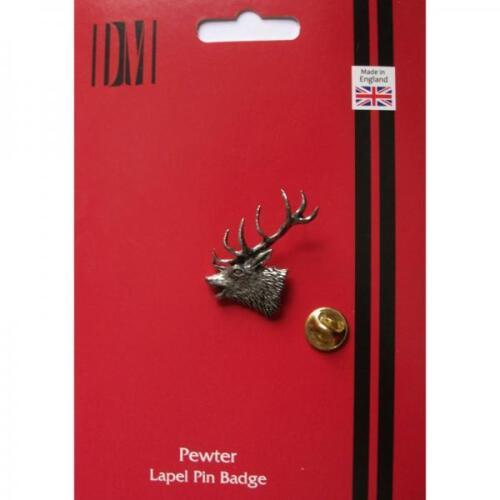 Rojo Plata Stags Cabeza Peltre Pin De Solapa Insignia hecha a mano en Inglaterra Insignias Nuevo