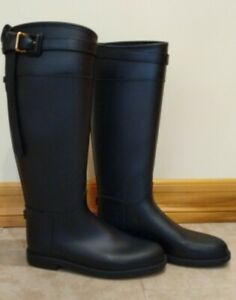 Burberry-women-rain-boots-black-equestrian-detail-narrow-size-39-100-Authentic