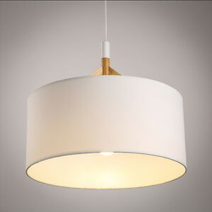 Image Is Loading Modern Wood Pendant Lamp Fabric Drum Shade Chandelier