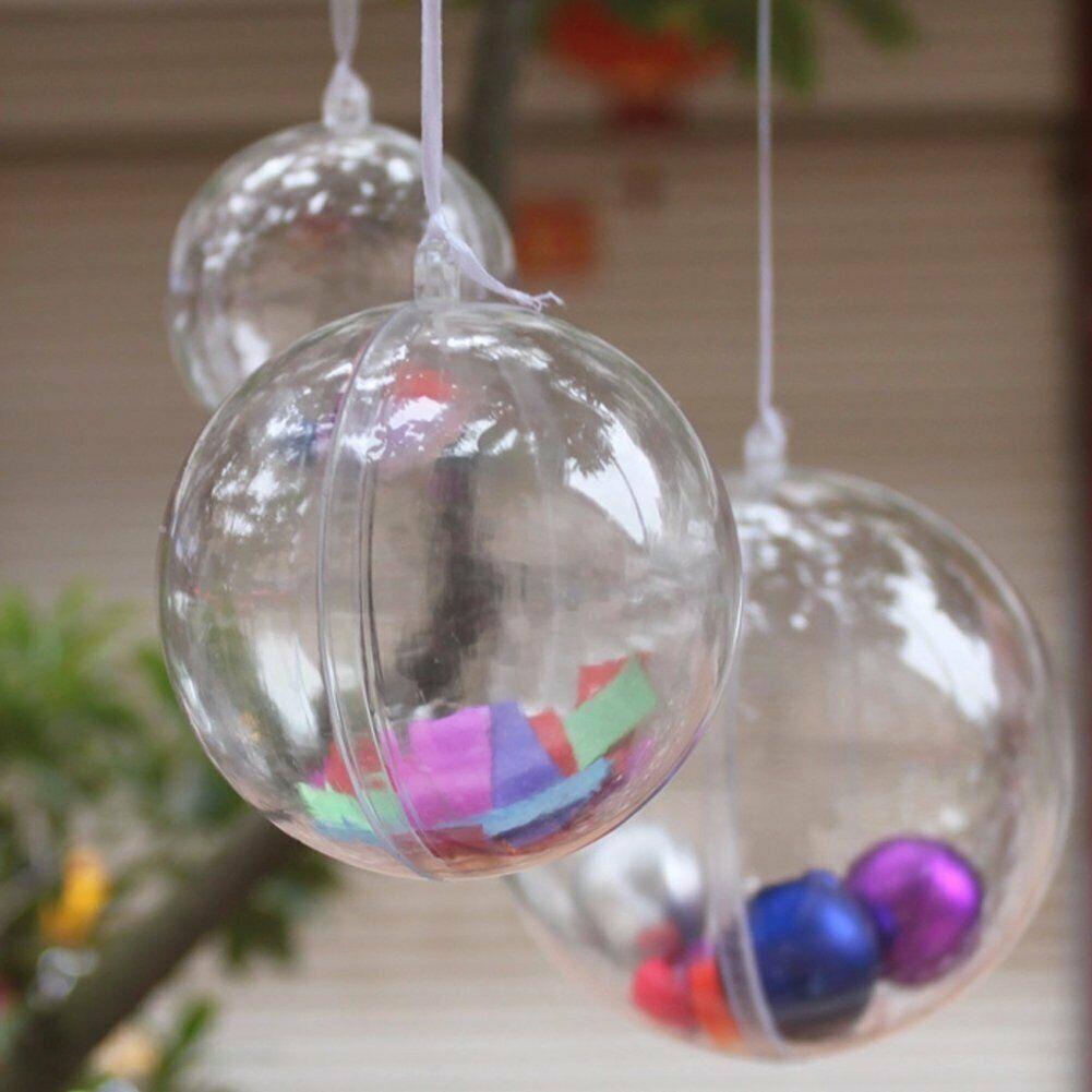 Füllbar Klar Plastik Weihnachtskugeln Christbaumkugeln Weihnachtsbaumkugeln Ball