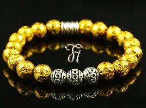 Lava-galvanisiert-Armband-Bracelet-Perlenarmband-Silber-Beads-Buddha-gold-8mm