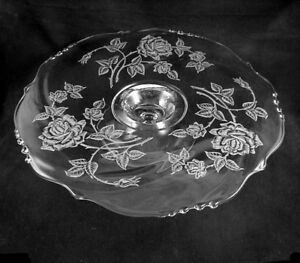 Image is loading Heisey-ROSE-Etched-Footed-Cake-Plate-Waverly-Blank- & Heisey ROSE Etched Footed Cake Plate-Waverly Blank- 14 inch | eBay