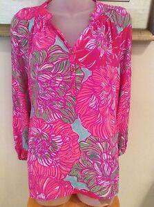 e758b95fbc097a Lilly Pulitzer S Elsa Top PINK Tourquoise Floral 100% silk blouse
