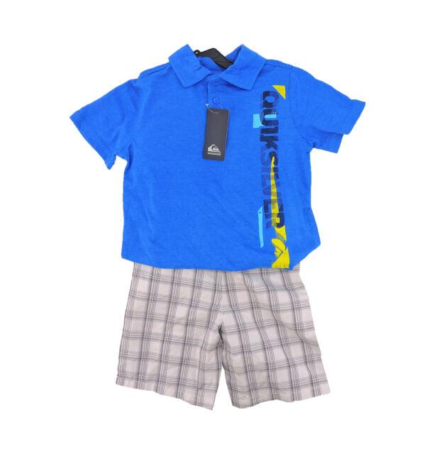 83ddfd90b Quiksilver Boys 3pc Outfit Set (polo Shirt Shorts) Snorkel Blue ...