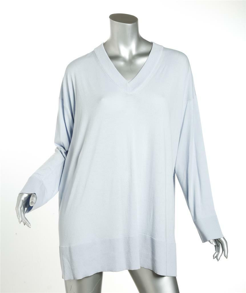 THE ROW Sabrinah OverGrößed ICE Blau Virgin Wolle Sweater V-Neck Knit XS NEW  1790