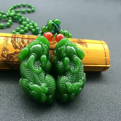 Natural hetian jade kirin lucky pendant necklace to ward off bad luck A pair of