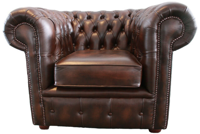chesterfield traditional club lounge chair in antique brown genuine