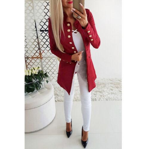 Frauen Retro Slim Fit Blazer Mantel Langarm Taste OL Arbeit Casual Anzug Outwear