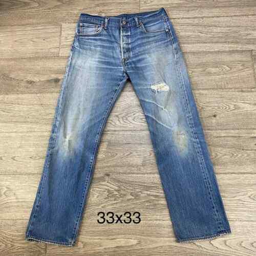 Levis 501 jeans distressed denim - image 1