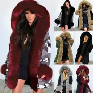 Roiii Women Luxury Long Faux Fur Parka Thicken Warm Hood Jacket Coat Plus Size