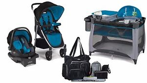 baby stroller car seat playard 8 piece diaper bag travel system urbini new ebay. Black Bedroom Furniture Sets. Home Design Ideas